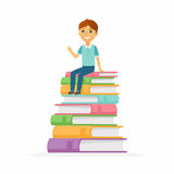 Schooljongen - karakters van gelukkige kindzitting op boeken royalty-vrije illustratie