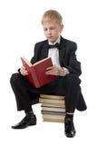 Schooljongen met het boek. stock fotografie