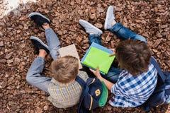 Schooljongens die boeken lezen Stock Foto
