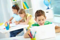 Schooljongenvoorzien van een netwerk stock afbeelding