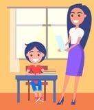 Schooljongenzitting dichtbij Venster, Mooie Leraar vector illustratie
