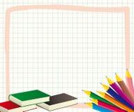 Schoolkader met kleurpotloden Stock Afbeeldingen