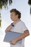 Schoolkid mit Notizbuch Lizenzfreies Stockfoto