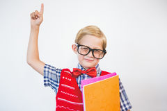 Schoolkid pretending to be a teacher. In classroom at school Stock Photos