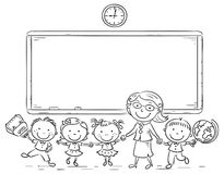 Schoolkids and teacher at the blackboard. Black and white outline Stock Images