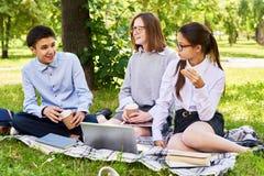 Schoolkinderen bij Picknick stock afbeeldingen