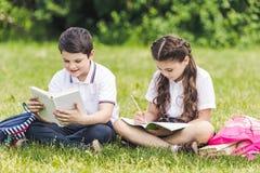 schoolkinderen die thuiswerk doen samen terwijl het zitten op gras stock foto's