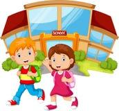 Schoolkinderen die voor het schoolgebouw lopen vector illustratie