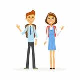 Schoolkinderen - karakters van gelukkig jongen en meisje royalty-vrije illustratie