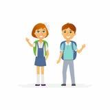 Schoolkinderen - karakters van gelukkig jongen en meisje vector illustratie