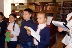 Schoolkinderen in klaslokaal bij les Royalty-vrije Stock Foto