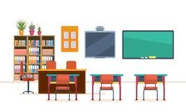 Schoolklaslokaal met bord en bureaus Binnenland van schoolklasse royalty-vrije illustratie