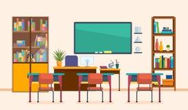Schoolklaslokaal met bord en bureaus Binnenland van schoolklasse stock illustratie