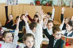 Schoollessen in de Oekraïne stock fotografie
