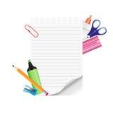Schoollevering en leeg document op witte achtergrond Stock Afbeeldingen