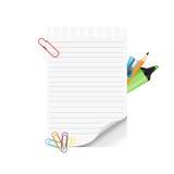 Schoollevering en leeg document op witte achtergrond Royalty-vrije Stock Afbeeldingen
