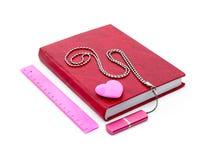 Schoollevering - notitieboekjes, gom, heerser Royalty-vrije Stock Afbeelding
