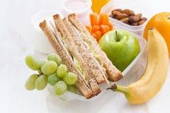 Schoolmaaltijd met sandwiches en fruit, close-up Stock Foto