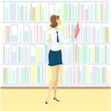 Schoolmeisje in de bibliotheek Een aardig meisje bekijkt boeken voor een les Volgende plank van het kabinet met boeken Vector ill royalty-vrije illustratie