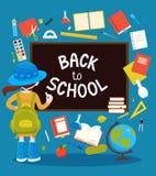 Schoolmeisje dichtbij zwarte bord en schoollevering rond hen vector illustratie