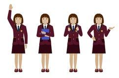 Schoolmeisje in eenvormige vlakke vector Stock Afbeeldingen