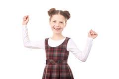 Schoolmeisje het vieren succes royalty-vrije stock afbeelding