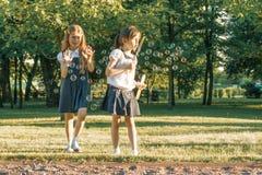 Schoolmeisje 7, 8 jaar van twee meisjevrienden oud spel met zeepbels op de weide in het park royalty-vrije stock fotografie