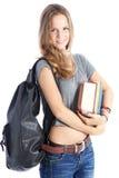 Schoolmeisje met bos van boeken Royalty-vrije Stock Foto