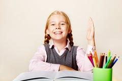 Schoolmeisje met een boek Stock Foto's