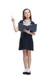 Schoolmeisje met geopend boek Stock Foto