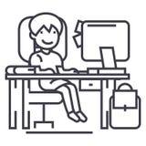Schoolmeisje op de lijst met computer, boek en rugzak vectorlijnpictogram, teken, illustratie op editable achtergrond, royalty-vrije illustratie