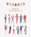 Schoolmeisjes, schooljongens met boeken, rugzakken en schooltassen Terug naar school vectorvlieger in vlakke stijl Gelukkig en gl vector illustratie