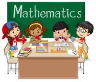 Schoolonderwerp voor Wiskunde met jonge geitjes in klasse stock illustratie