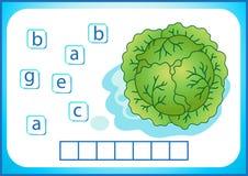 Schoolonderwijs Engelse flashcard voor het leren van het Engels Wij schrijven de namen van groenten en vruchten De woorden is een stock illustratie