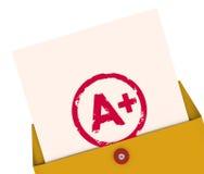 Schoolrapport A+ plus de Hoogste Score van de het Overzichtsevaluatie van de Rangclassificatie vector illustratie