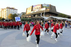 Schools' cheerleeders on Varna street Bulgaria Stock Image