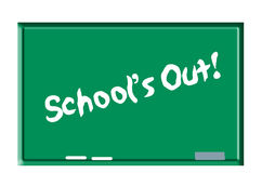 Schools out on chalkboard Stock Photo