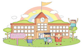 Schools & teachers & young students line character illustration Stock Photography