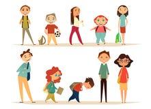 Schoolset van tekens Beeldverhaalkarakters voor uw ontwerp Vlak Ontwerp De jonge geitjes gaan naar school Stock Fotografie