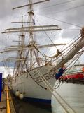 Schoolship Christian Radich in harbour of Sandefjord Royalty Free Stock Photo