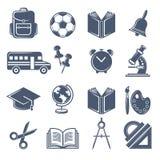 Schoolsymbolen Vector zwarte pictogrammenreeks schoolpictogrammen stock illustratie