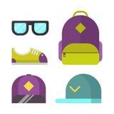 Schooltas en manier bijkomende pictogrammen vectorillustratie Stock Afbeelding