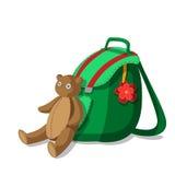 Schooltas en teddybeer Stock Afbeelding
