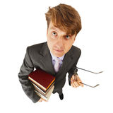 Schoolteacher with textbooks in hand Royalty Free Stock Photo