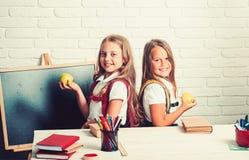 Schooltijd van meisjes De meisjes eten appel bij middagpauze Terug naar school en huis het scholen Vriendschap van klein royalty-vrije stock afbeelding