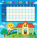 Schooltijdschema met de schoolbouw stock illustratie