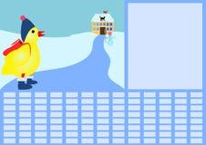 Schooltijdschema met kip in de winter stock illustratie