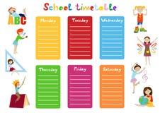 Schooltijdschema, vector van het jonge geitjes de wekelijkse programma Stock Foto's