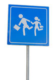 Schoolwaarschuwingsbord, kinderen op weg Stock Afbeeldingen