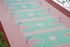 Schoolyard. It is a schoolyard of high school in China, with many basketball courts Royalty Free Stock Photo